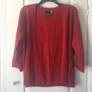 Noelle Red Sparkle Cardigan Sweater